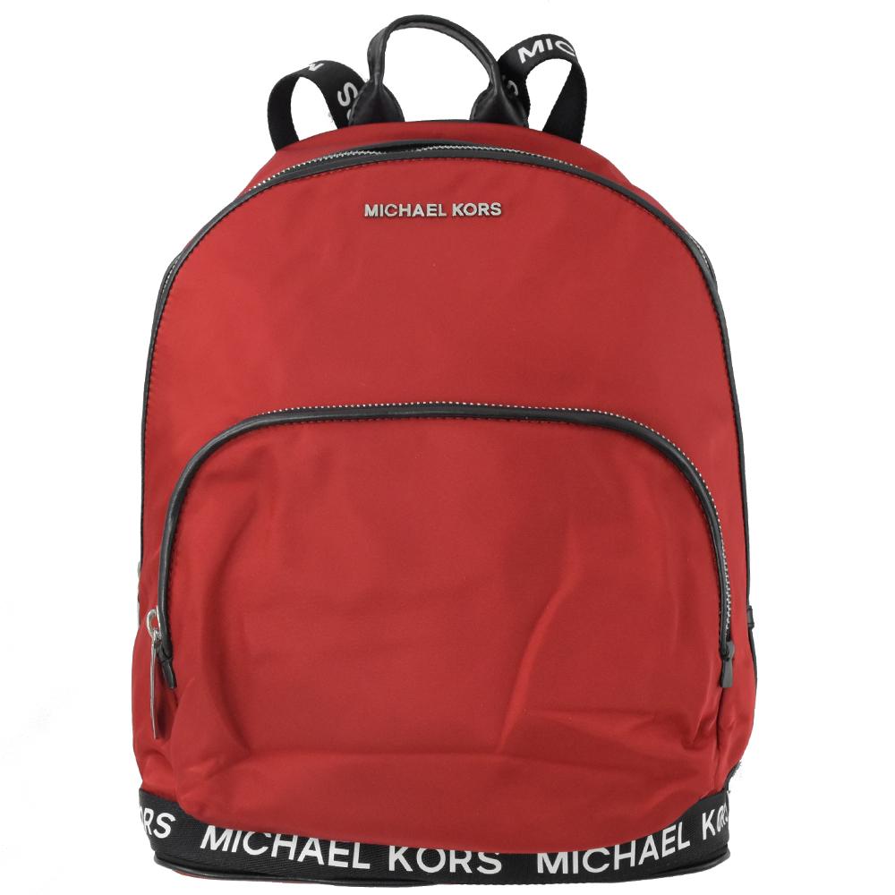 MICHAEL KORS Connie 金屬LOGO尼龍拉鍊後背包(紅)