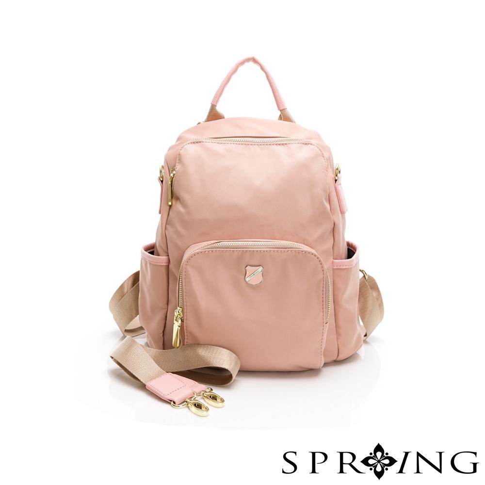 SPRING-未來質感系列尼龍防盜後背包小號-甜美粉
