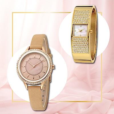 MANGO 閃耀雙重奏晶鑽腕錶-兩件組(金色+杏色)