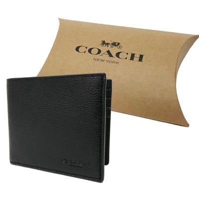 COACH 牛皮6卡證件卡片短夾禮盒(黑)