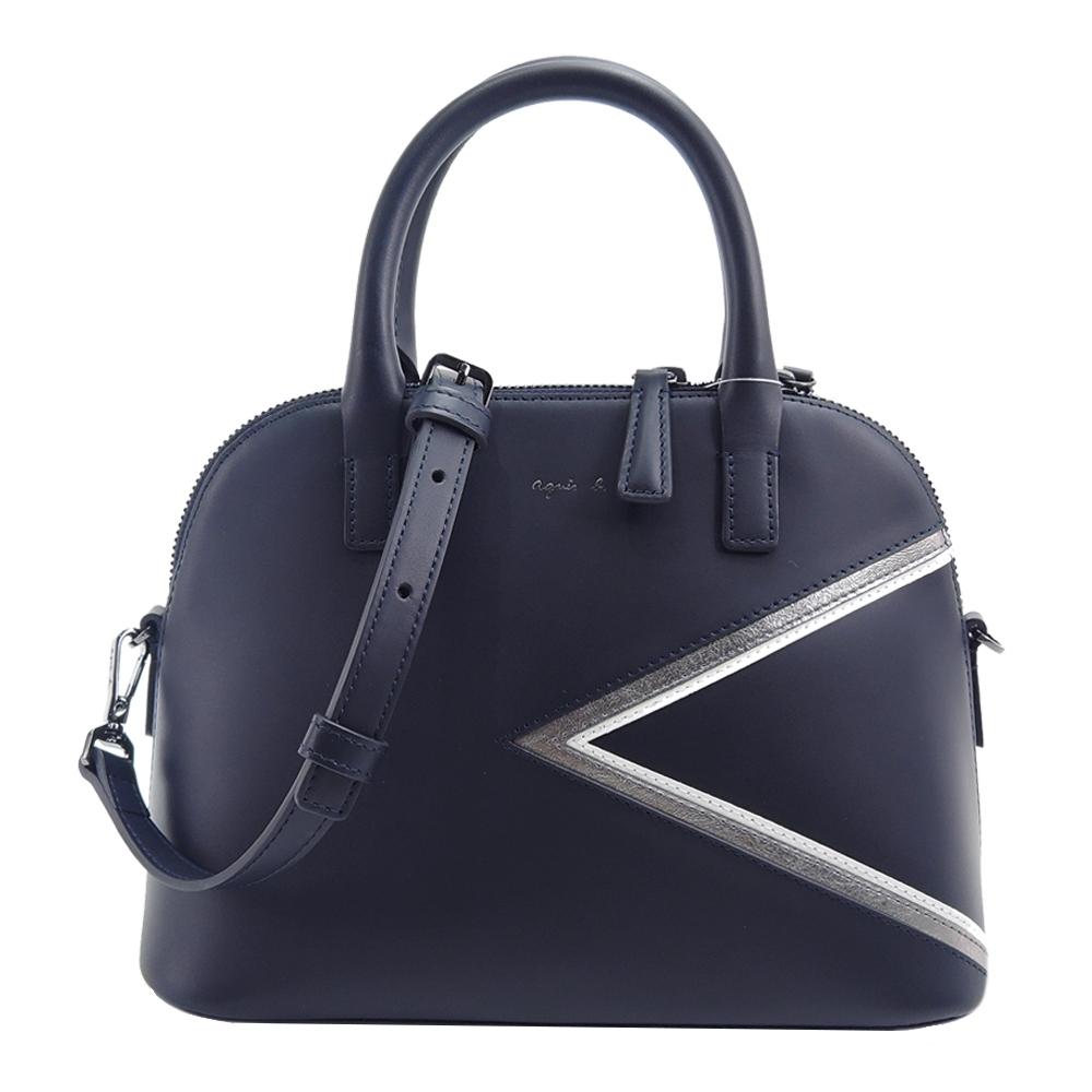 agnes b. 燙金logo三角幾何皮革兩用包(藍/銀邊)