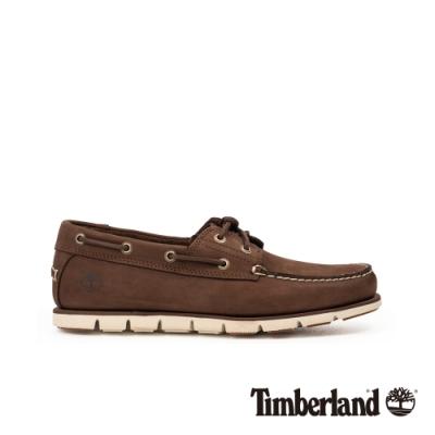 Timberland 男款深棕色磨砂革帆船鞋|A26QS