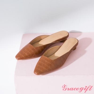 Grace gift-素面方口圓跟穆勒鞋 棕