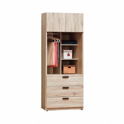 Bernice-威力橡木2.5尺開放三抽衣櫥-75x57x195cm