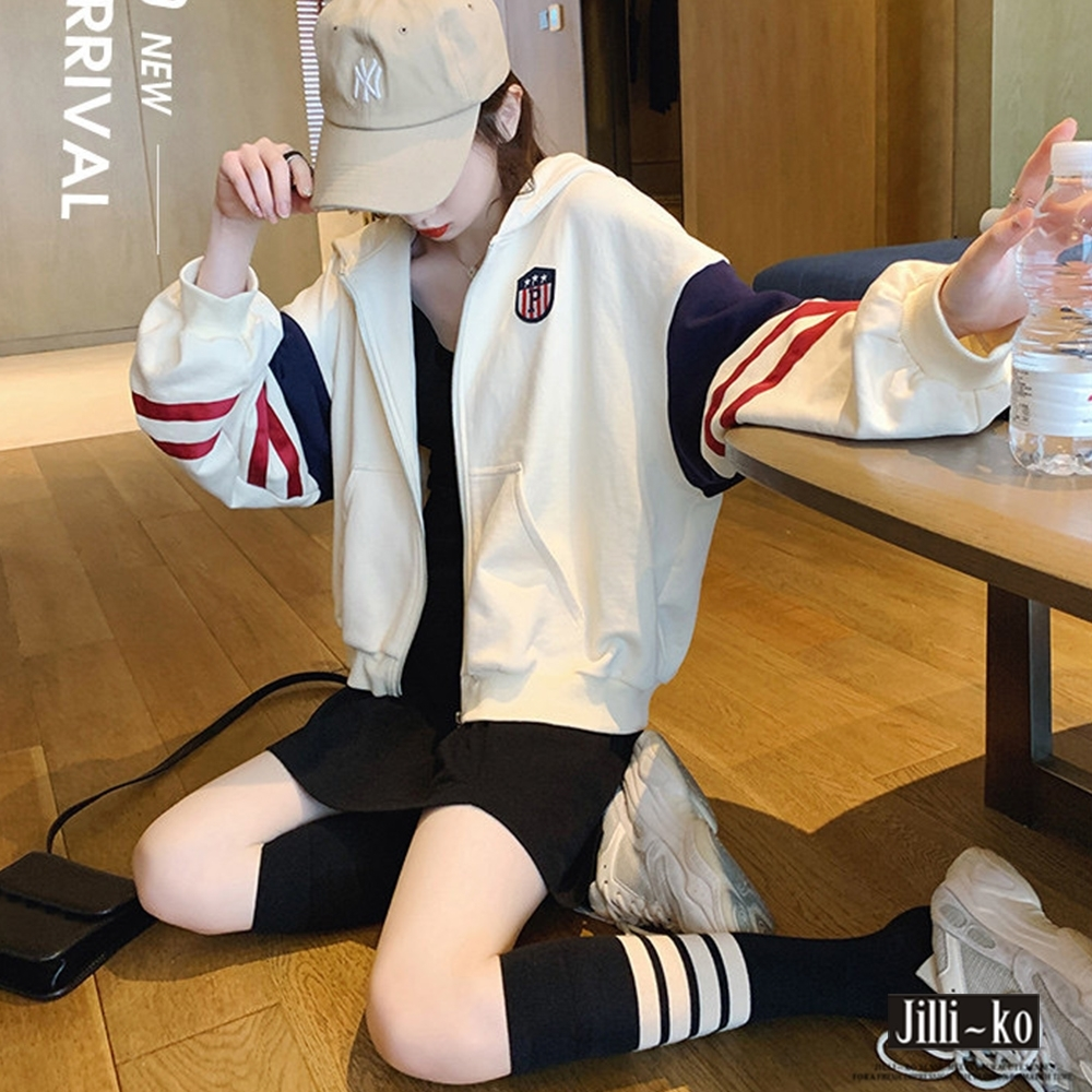 JILLI-KO 美式運動風棒球連帽外套- 杏色