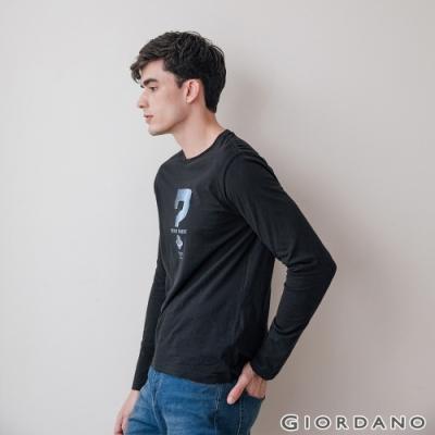 GIORDANO 男裝EXPLORE FUTURE印花長袖T恤- 32 標誌黑