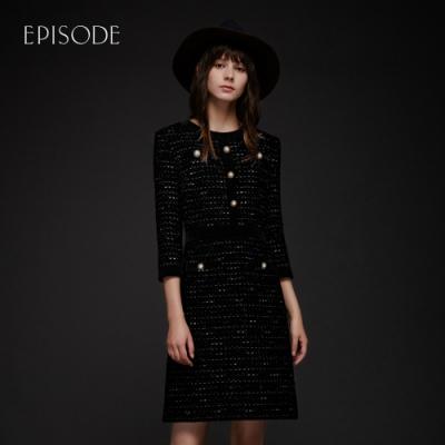 EPISODE - 黑色優雅氣質小香風修身七分袖洋裝