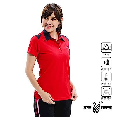 【遊遍天下】MIT女款吸濕排汗抗UV機能POLO衫GS10037紅色