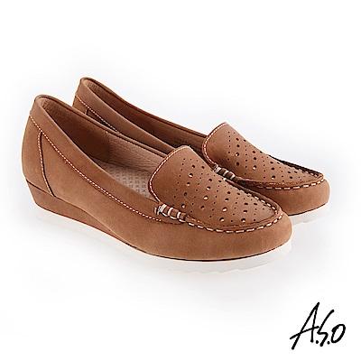 A.S.O 新式復古 真皮面料休閒鞋 卡其