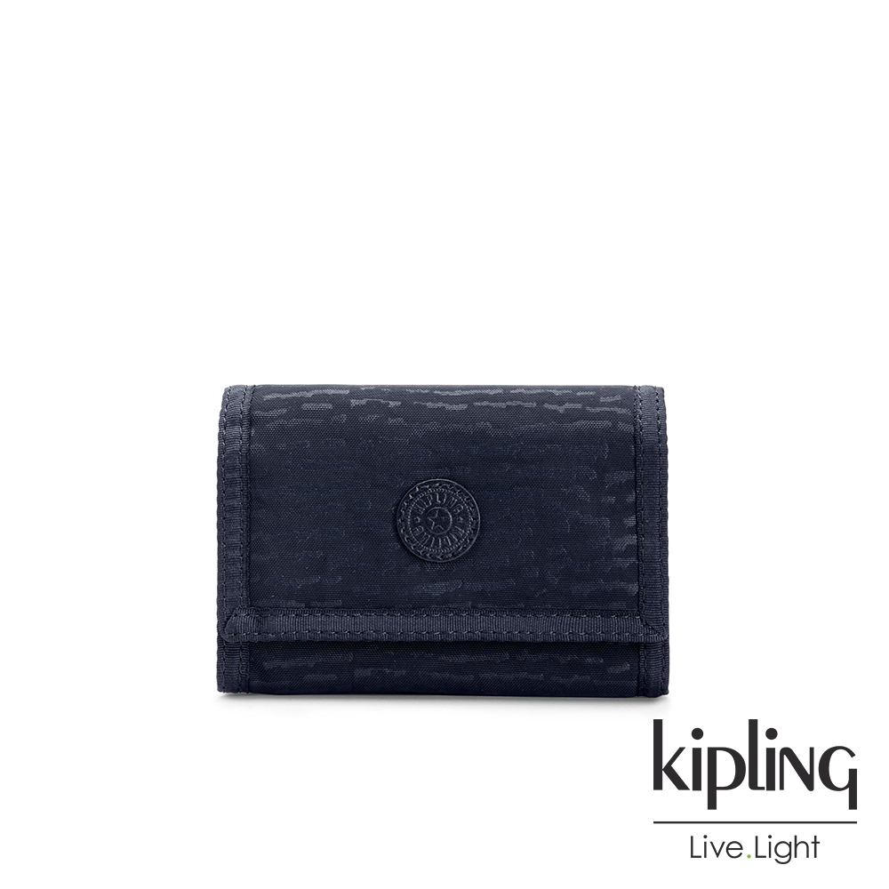 Kipling 文青靛藍紋路多夾層短夾-MICKYLINA