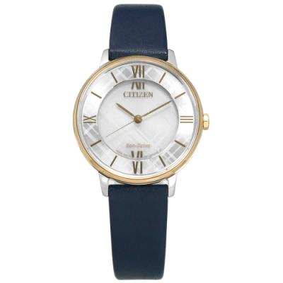 CITIZEN 光動能 線條交織 藍寶石水晶玻璃 牛皮手錶-銀x香檳金框x藍/31mm