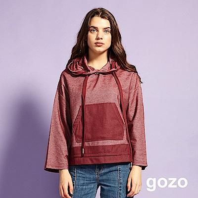 gozo 拚色寬袖造型口袋抽繩帽T(深紅)