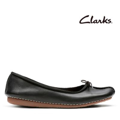 Clarks UN 全皮面蝴蝶結飾平底鞋 黑色