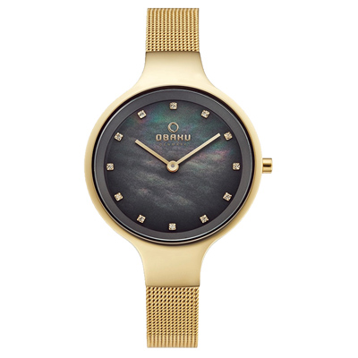 OBAKU 極簡珍珠母貝鑲鑽腕錶-V173LXGJMG-32mm