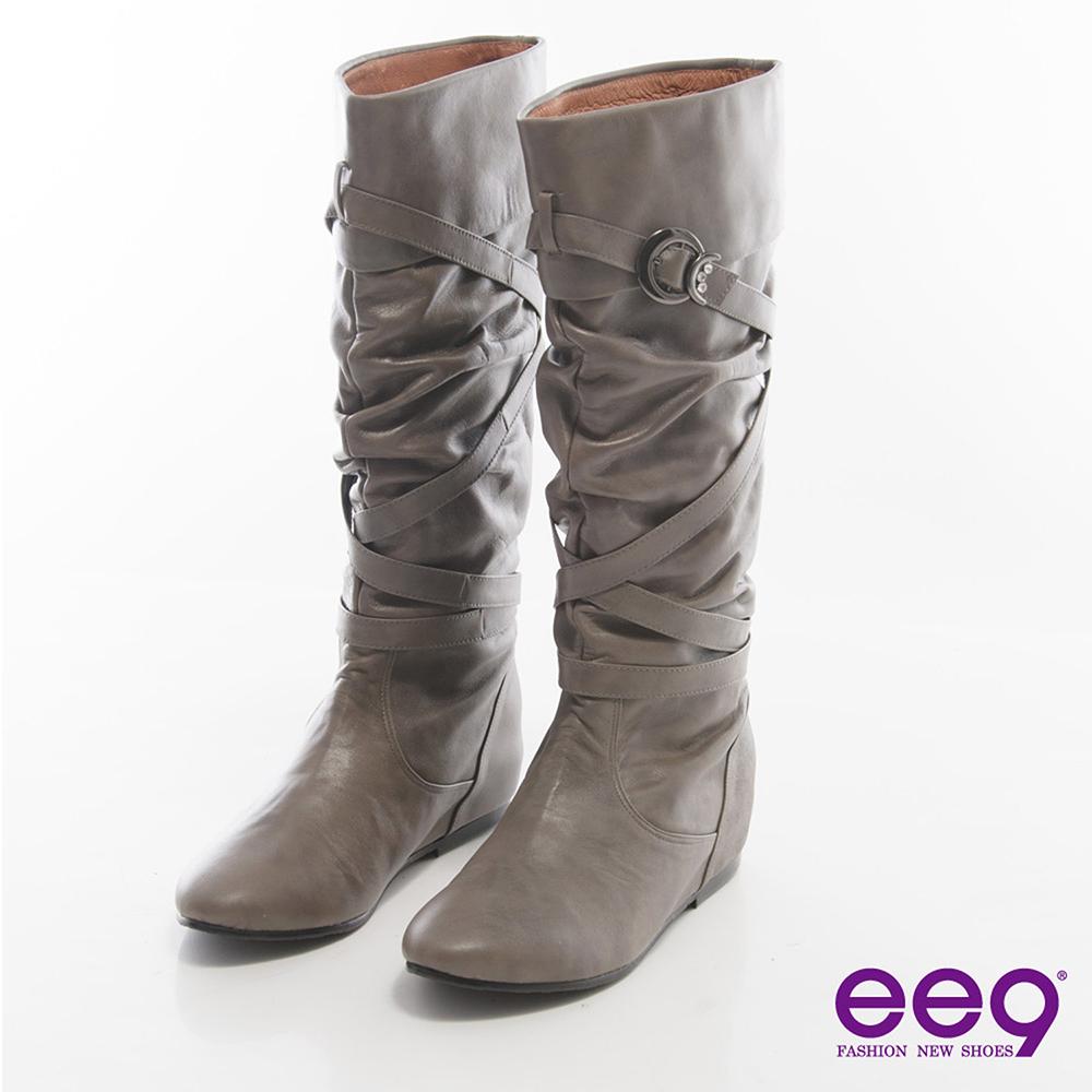 ee9時尚心機~自然抓皺交叉皮帶扣環內增高高筒靴~灰色