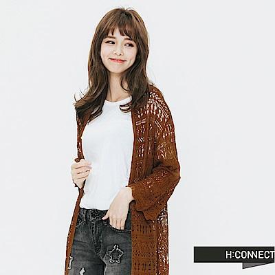 H:CONNECT 韓國品牌 女裝-針織繡花罩衫-棕