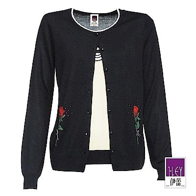 ILEY伊蕾 蝴蝶結裝飾玫瑰緹花假兩件針織上衣(黑)