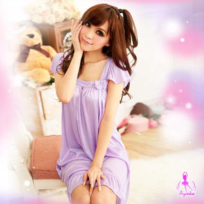 Ayoka性感睡衣浪漫花戀!甜蜜柔緞睡襯裙-淺紫
