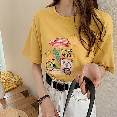 初色  時尚印花圓領T恤-共4色-(L-3XL可選)