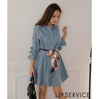 LIP SERVICE 襯衫式綁帶洋裝(2色)