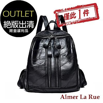 [福利品]Aimer La Rue 雙拉鍊羊皮後背包(黑色)(絕版出清)