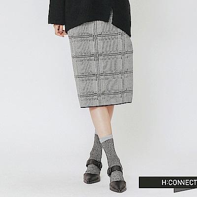 H:CONNECT 韓國品牌 女裝-格紋編織中長裙-白