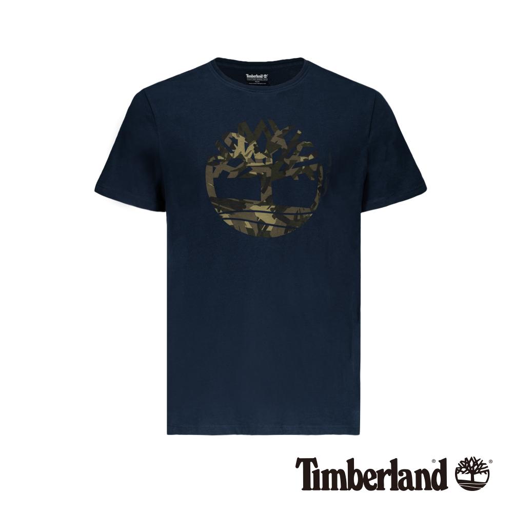 Timberland 男款深寶石藍品牌大樹迷彩LOGO短袖T恤|A1ZWN