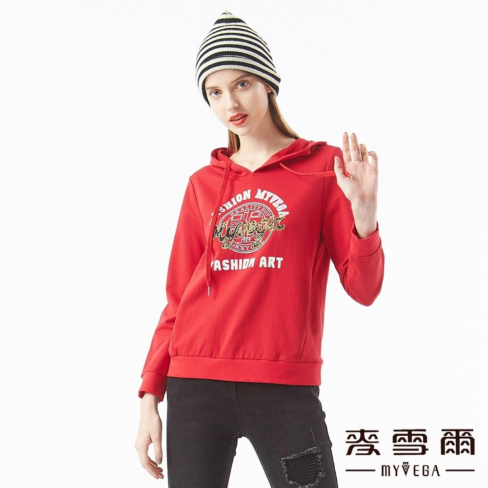 MYVEGA麥雪爾 純棉刺繡logo連帽T恤-紅