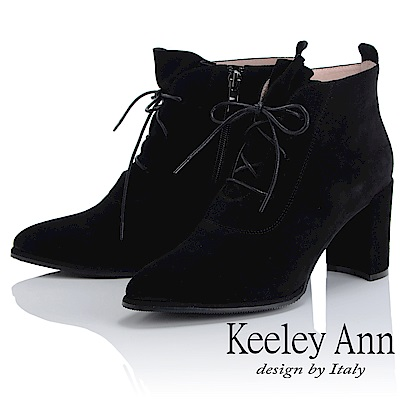Keeley Ann 俐落時尚~經典素面綁帶側拉鍊短靴(黑色-Ann)