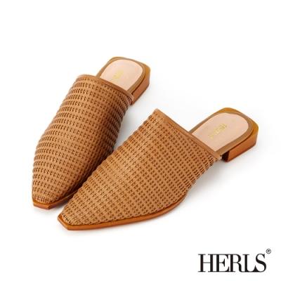 HERLS穆勒鞋 全真皮編織尖頭低跟穆勒鞋 棕色