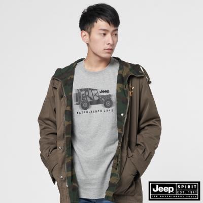 Jeep 男裝 迷彩防風雙面穿連帽外套-軍綠色
