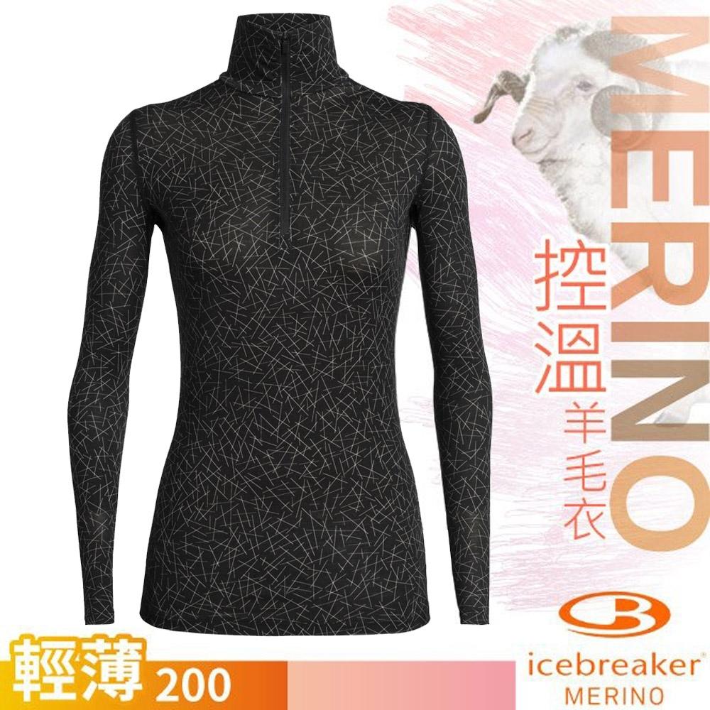 Icebreaker 女 200 Oasis 輕薄款半開襟長袖上衣_黑/天際線條