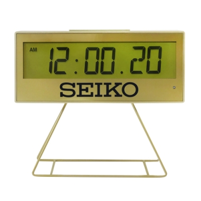 SEIKO 精工 / QHL084G / 城市路跑 日期 計時 貪睡鬧鈴 可拆座架 長方形鬧鐘 電子鐘-金色