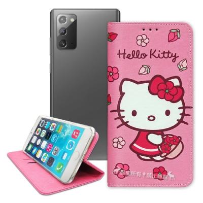 三麗鷗授權 Hello Kitty 三星 Samsung Galaxy Note20 5G 櫻花吊繩款彩繪側掀皮套