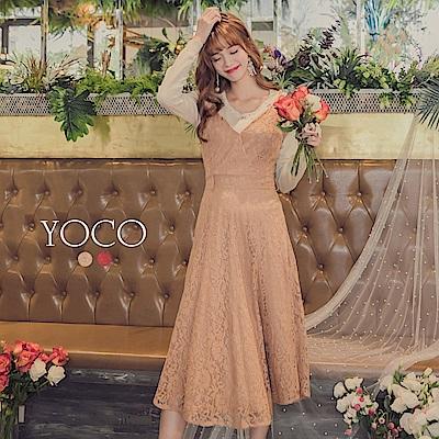 東京著衣-yoco 喜酒名媛最愛精緻蕾絲細肩帶洋裝-S.M.L(共二色)