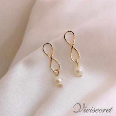 VIVI SECRET 極簡風清新幾何珍珠耳環
