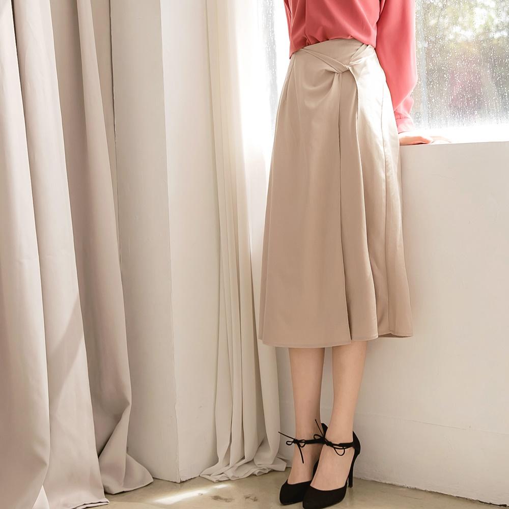 棉麻簡約層次感開衩扭結後鬆緊A字裙-OB大尺碼