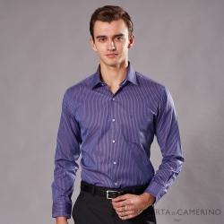 ROBERTA諾貝達 台灣製  合身版 商務型男 條紋長袖襯衫 深紫