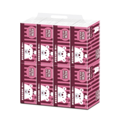 BeniBear邦尼熊復古酒紅條紋抽取式衛生紙100抽8包6袋