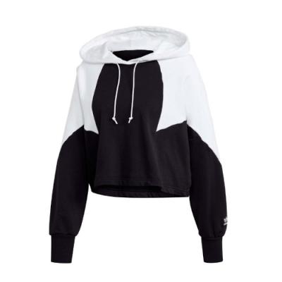 adidas 帽T Large Logo Hoodie 女款 愛迪達 連帽上衣 短版 流行 穿搭 黑 白 GD2404
