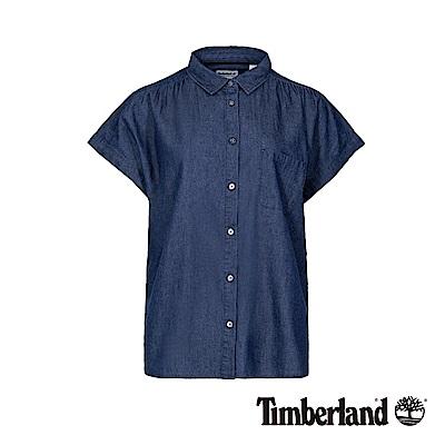 Timberland 女款靛青色單口袋休閒短袖襯衫|B3605