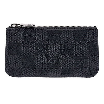 LV N60155 POCHETTE CLES經典Damier帆布拉鍊零錢/鑰匙包(黑灰)