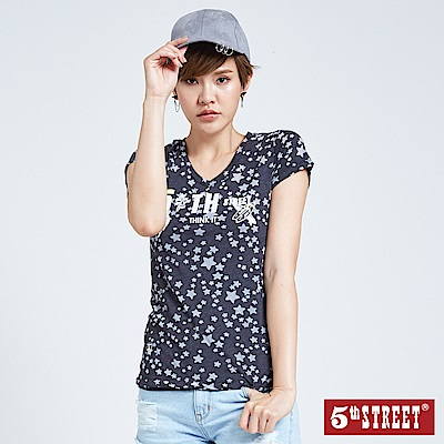 5th STREET 美式燒花星星短袖T恤-女-黑灰色