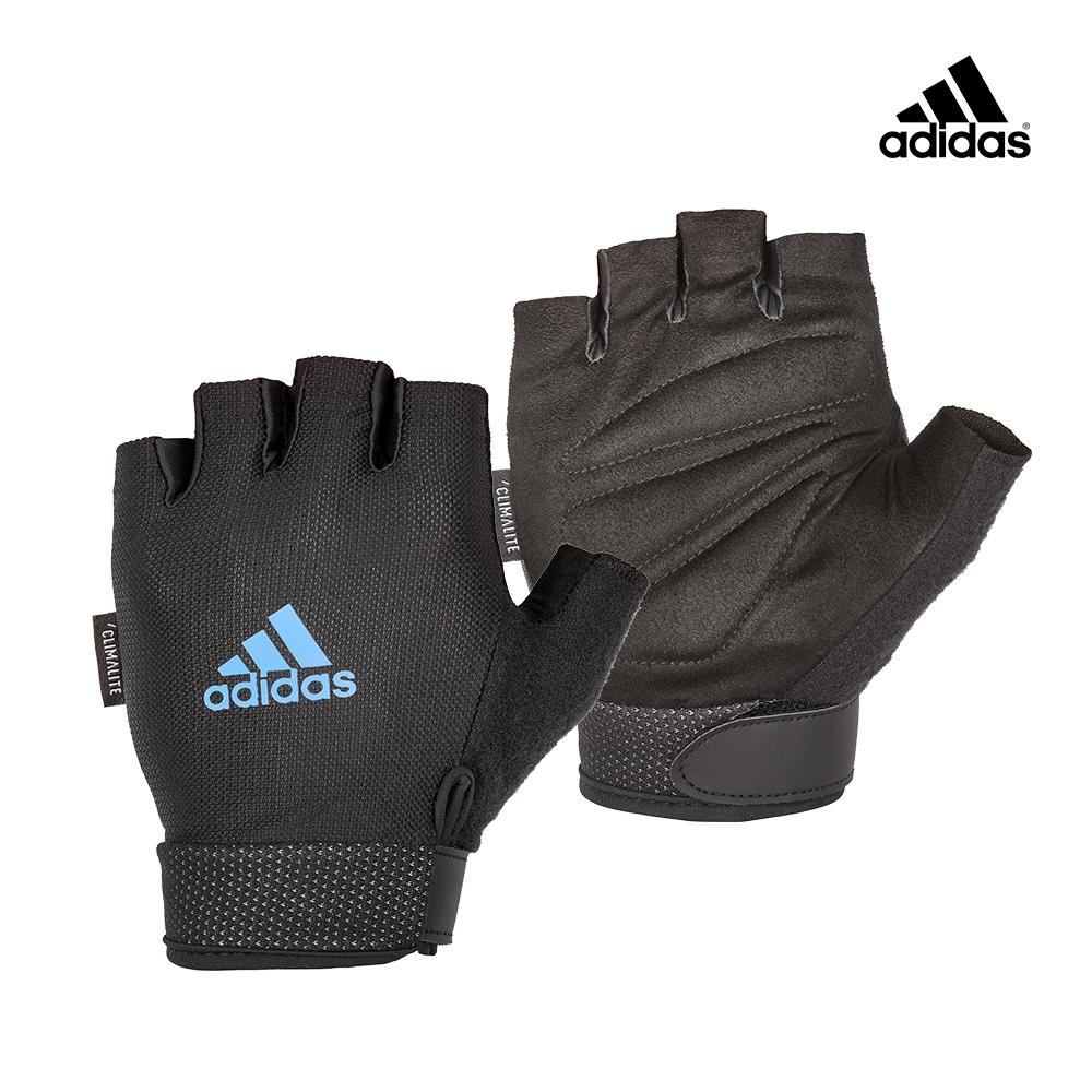 Adidas Training可調式透氣短指訓練手套(藍)