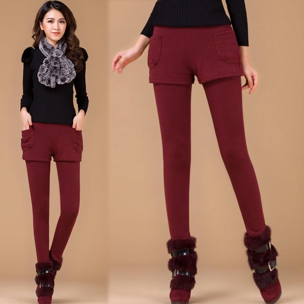 【韓國K.W.】(現貨)假兩件保暖素面顯瘦襪褲-1色