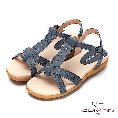 CUMAR普羅旺斯莊園- 雷射沖孔雕花腳床式涼鞋-藍