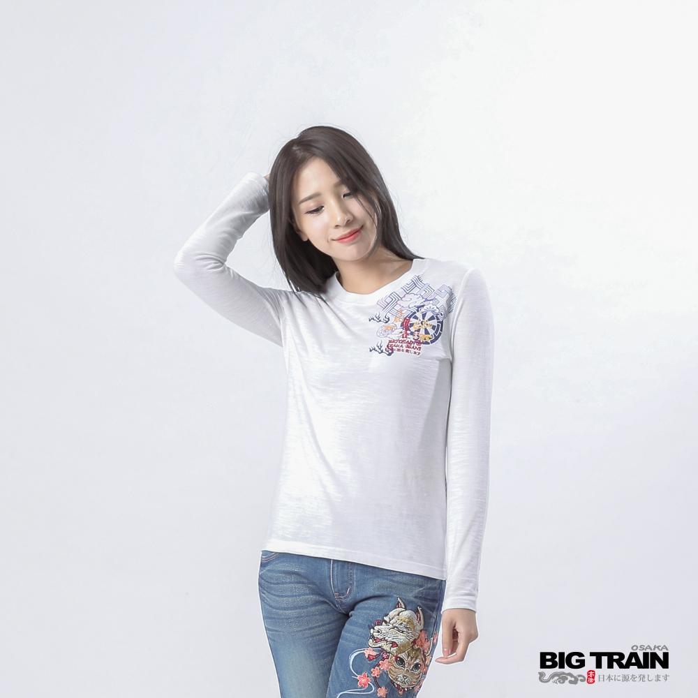 BIG TRAIN 火鳳朱雀圓領長袖-女-漂白