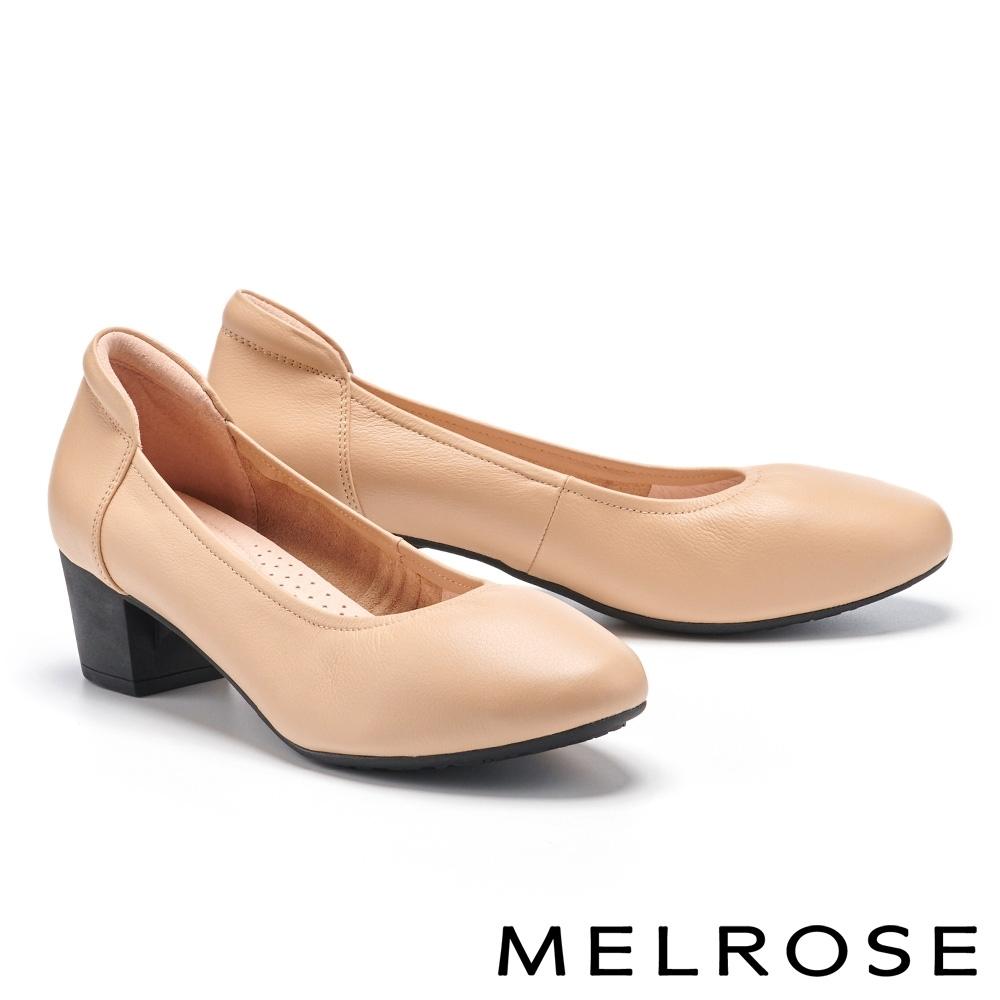 高跟鞋 MELROSE 極簡時尚全真皮純色高跟鞋-米
