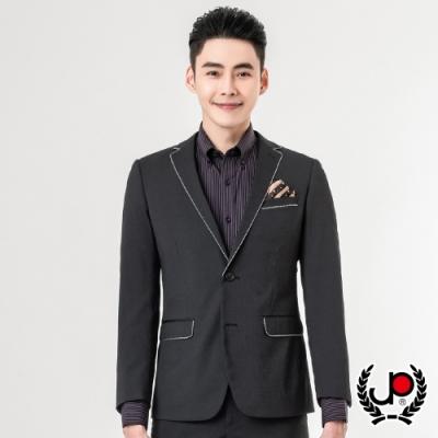 極品西服 品味商務窄版彈性西裝外套_黑條(AS855-3G)