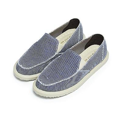 BuyGlasses 多色縫邊質感懶人鞋-藍